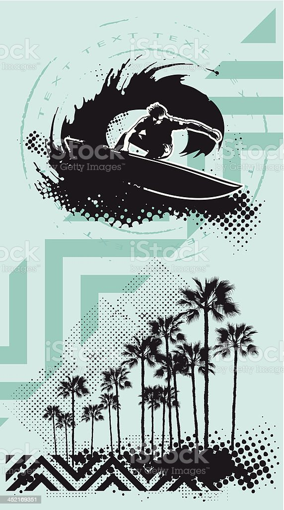 surf poster with rider and palms royalty-free stock vector art