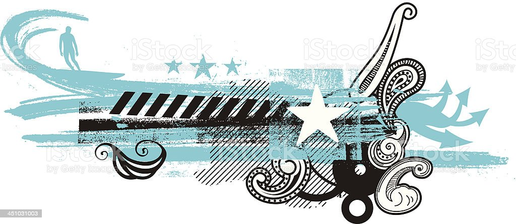 surf rider with big wave royalty-free stock vector art