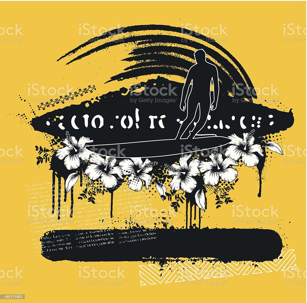 surf scene in black and yellow vector art illustration
