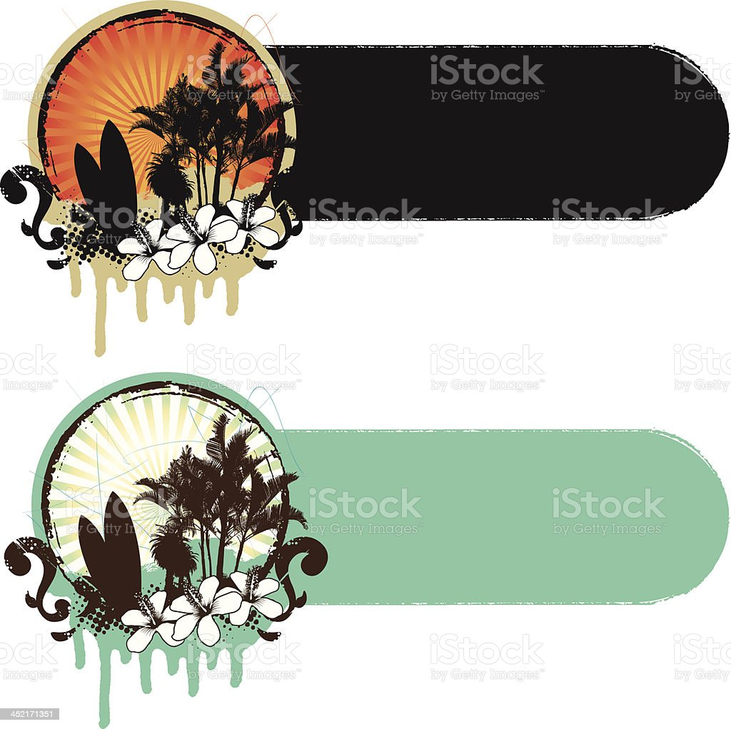 surf scene with banner in two colors royalty-free stock vector art