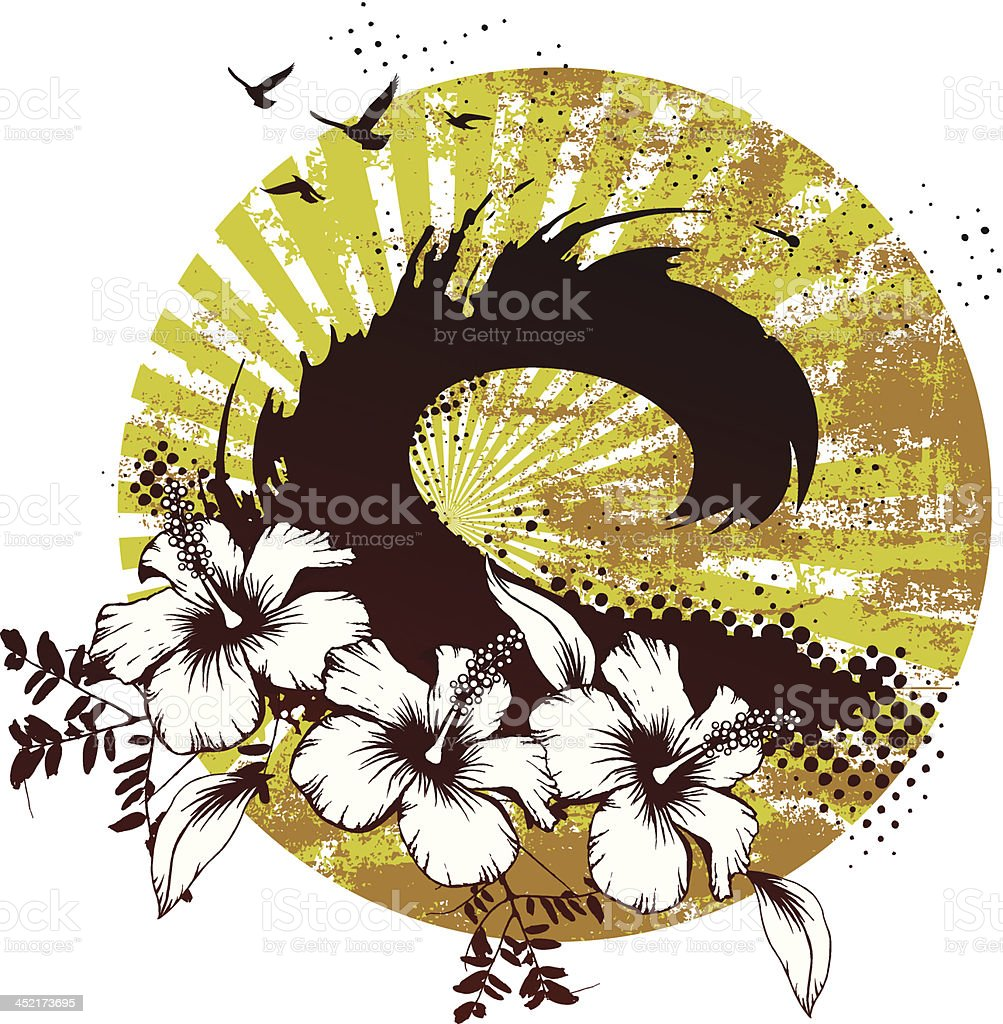 surf scene with big wave and hibiscus royalty-free stock vector art