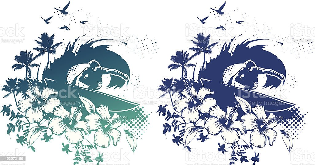 surf scene with rider in tube and hibiscus vector art illustration