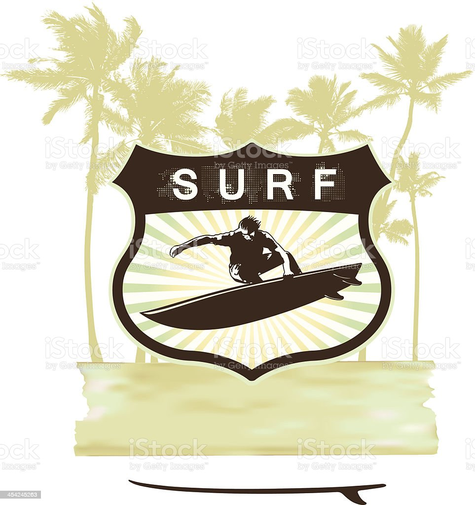 surf shield with summer grunge background royalty-free stock vector art
