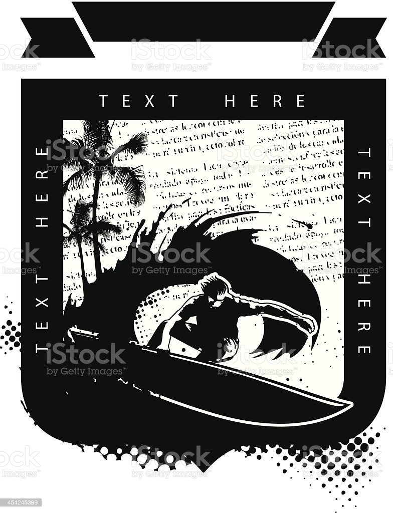 surf shield with surfer in tube and palms royalty-free stock vector art