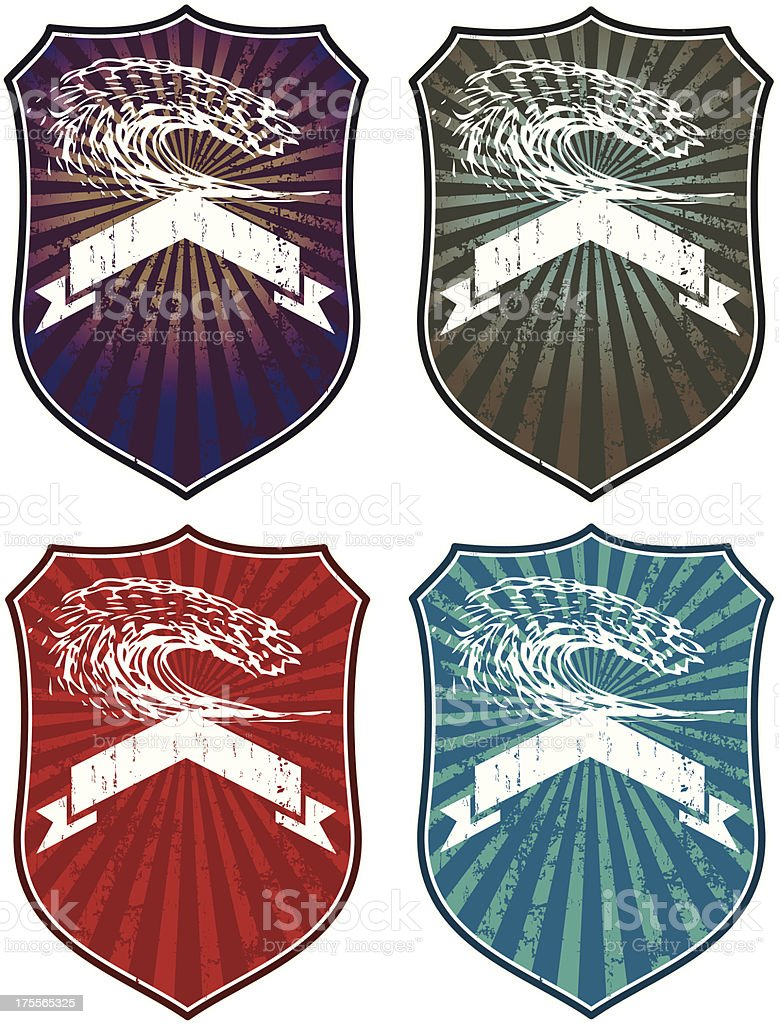surf shields with waves and banners royalty-free stock vector art