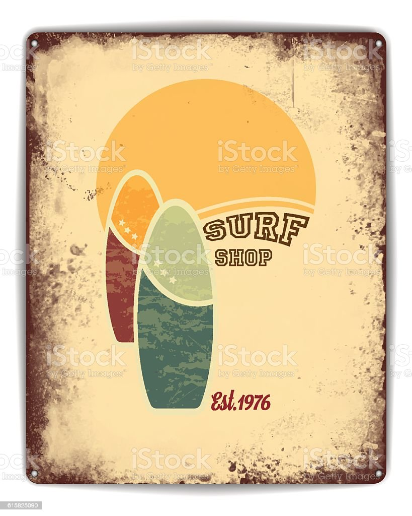 Surf shop tin poster vector art illustration