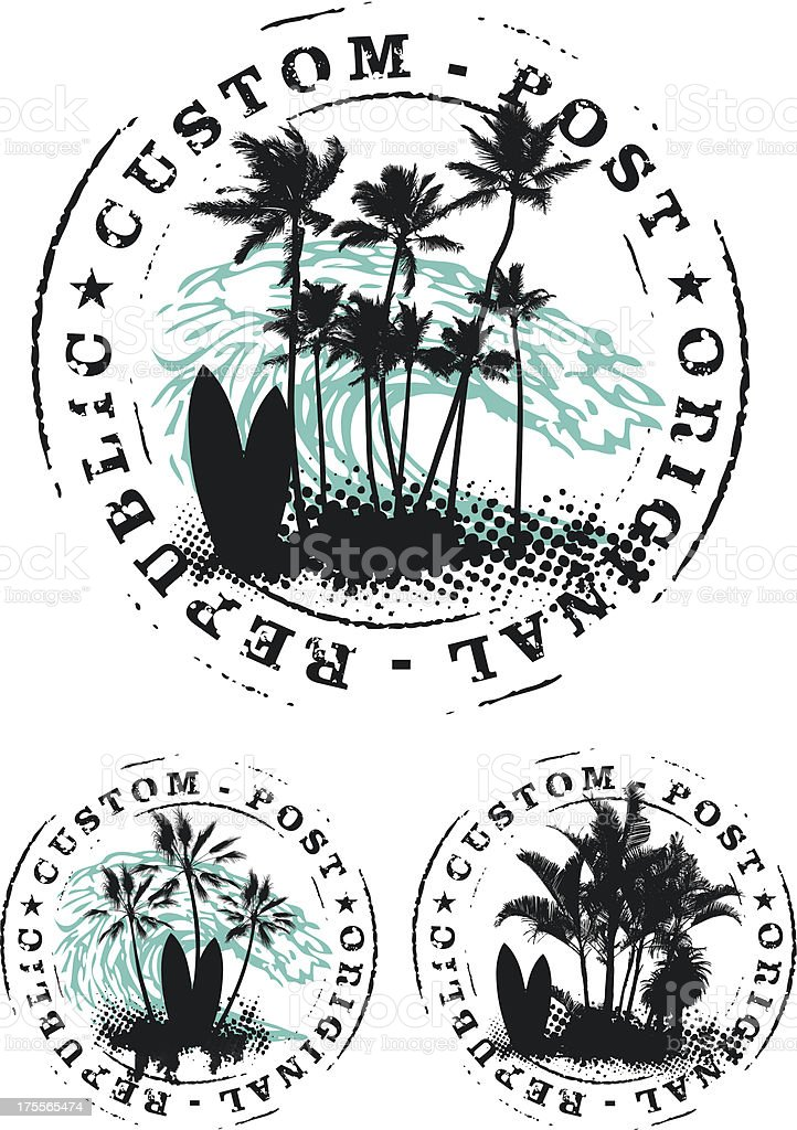 surf stamp mark with palms and big wave royalty-free stock vector art