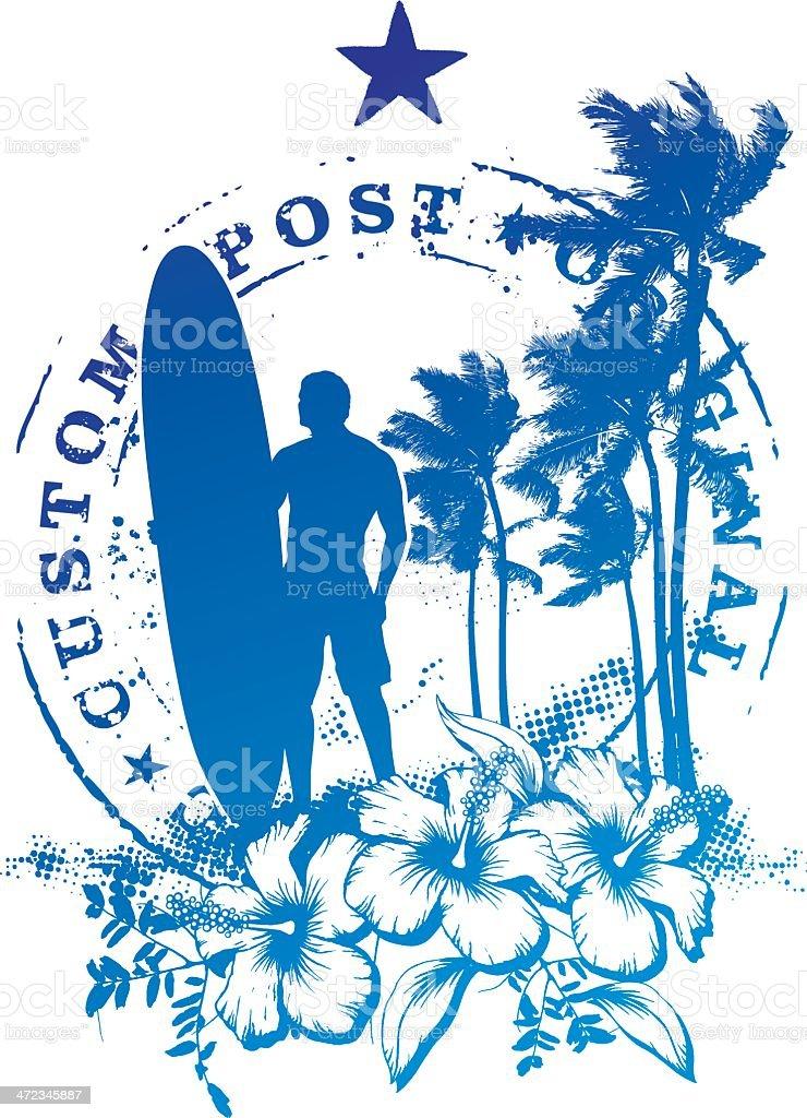 surf stamp mark with surfer waiting the best wave vector art illustration