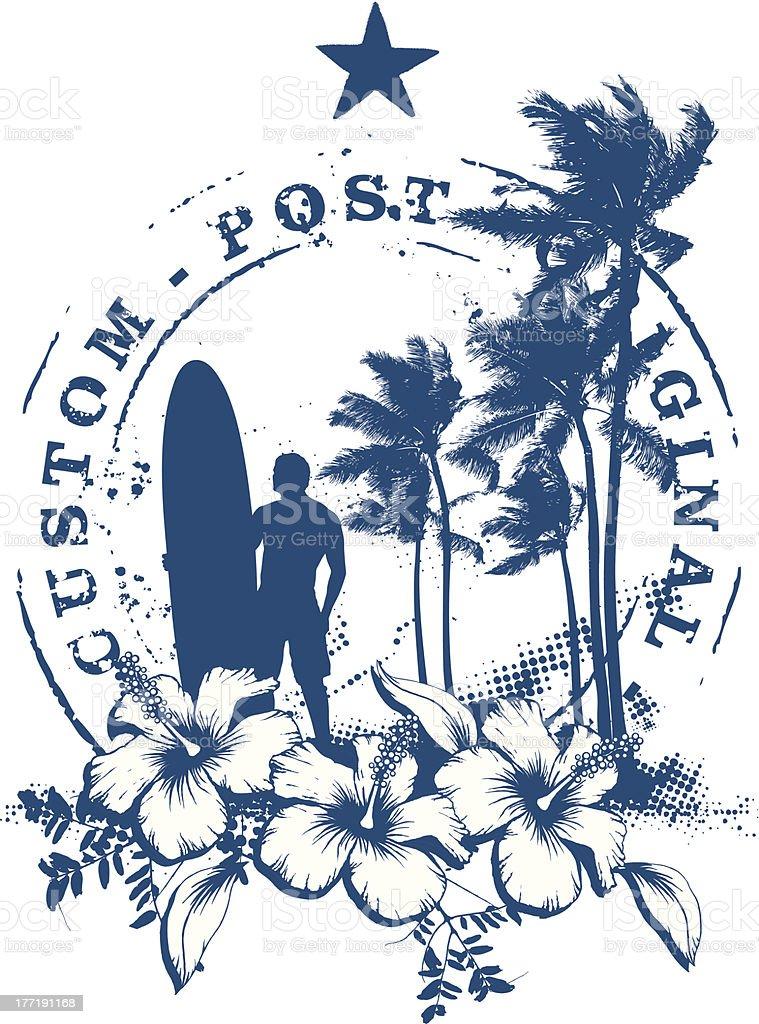 surf stamp with grunge summer background vector art illustration