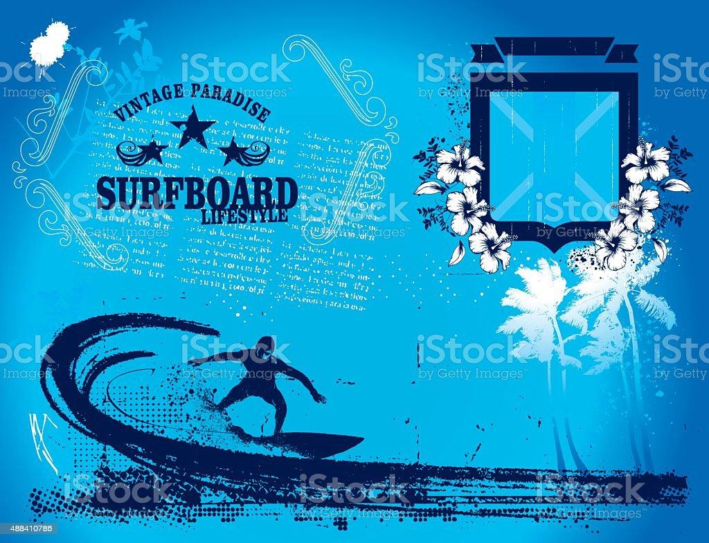surf summer frame with shield and surfer vector art illustration
