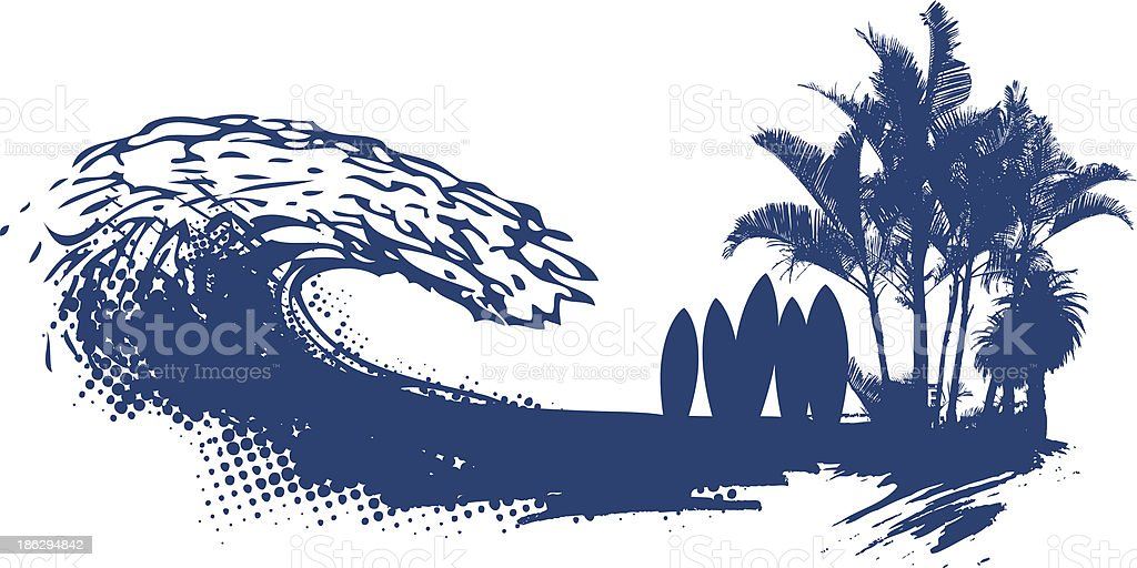 surf summer scene with tables palms and grunge wave vector art illustration