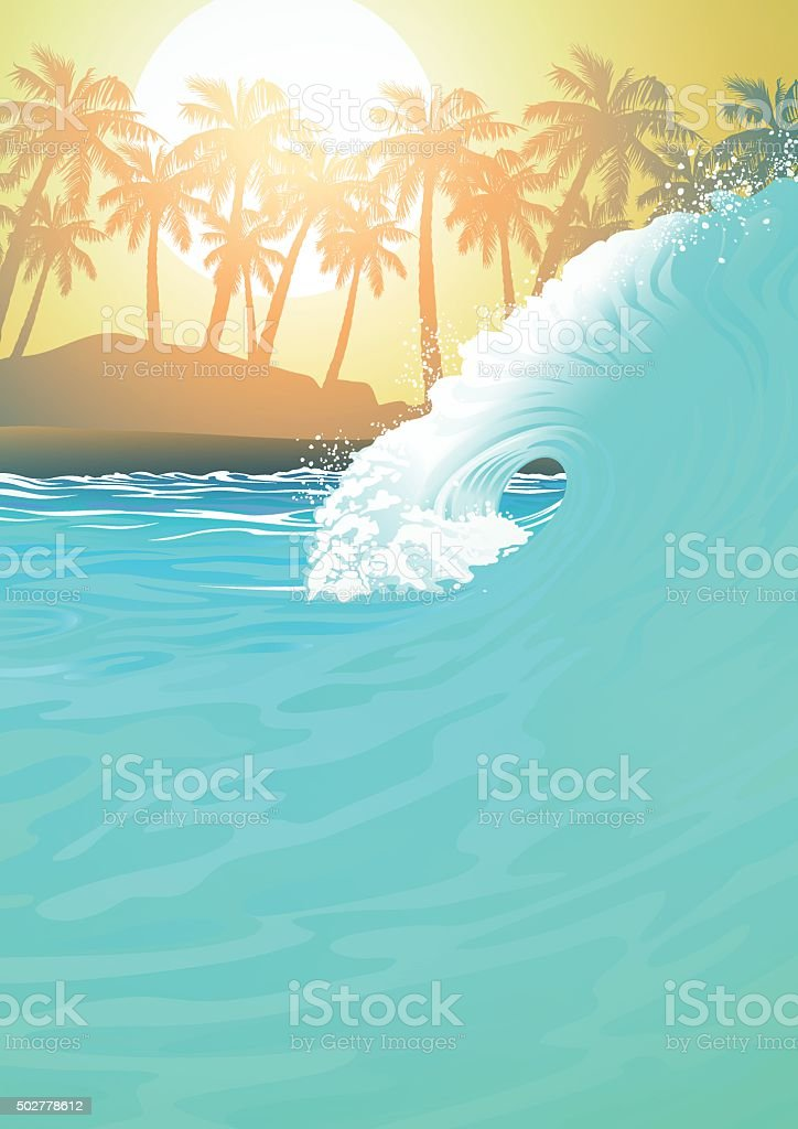 Surf wave at the beach at sunrise vector art illustration