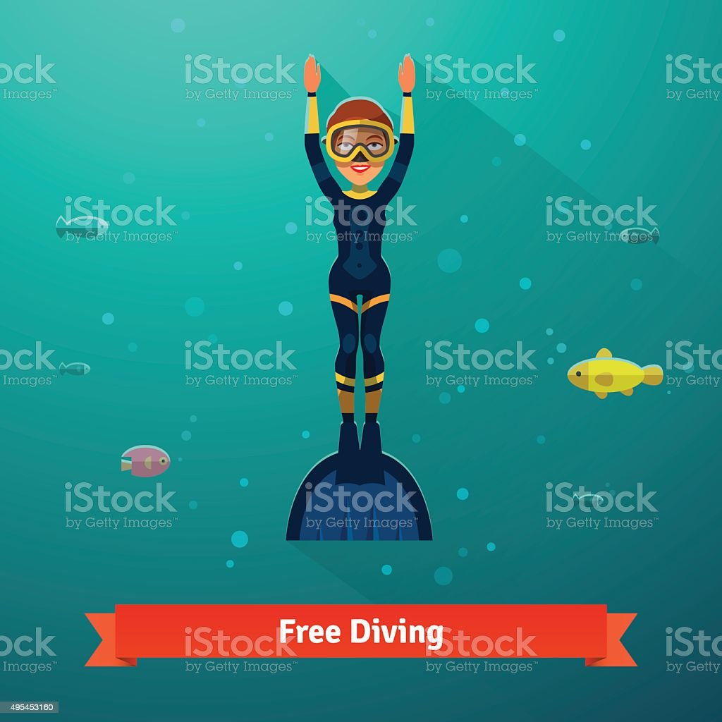 Surfacing free diver woman in wetsuit vector art illustration