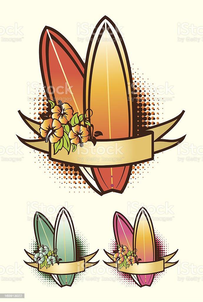 Surfboard Emblem with ribbon royalty-free stock vector art