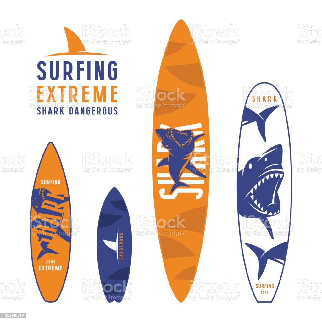Surfboard graphic design with the image of sharks vector art illustration