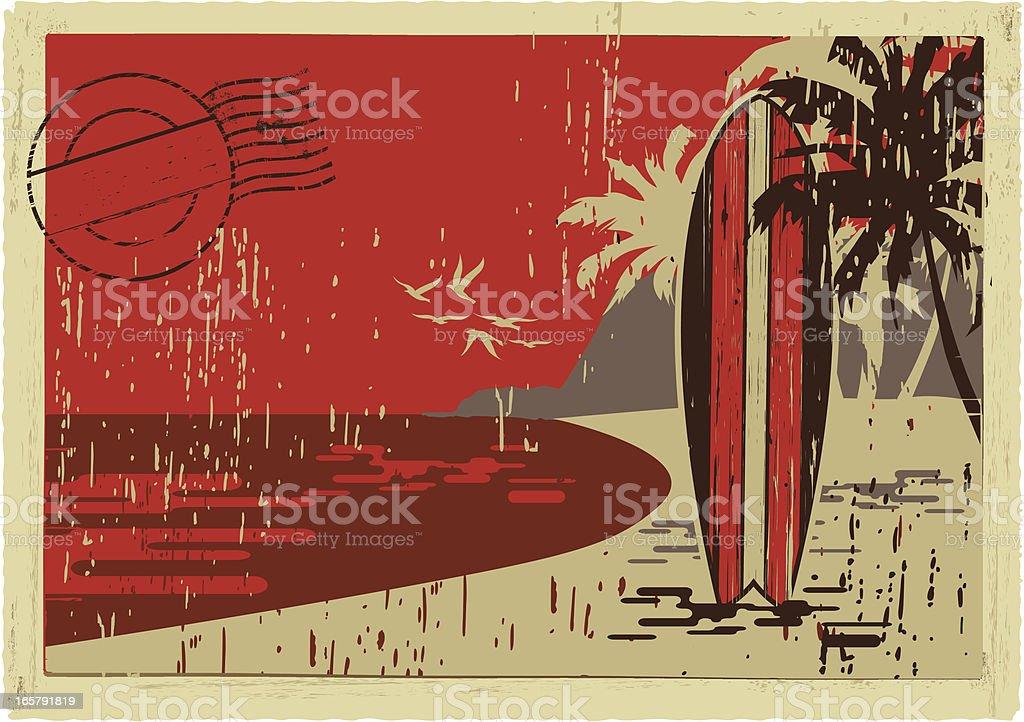 surfboard postcard vector art illustration