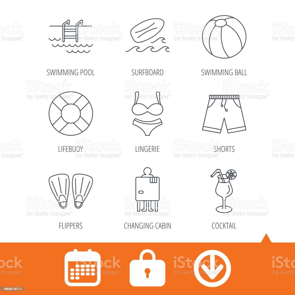 Surfboard, swimming pool and trunks icons. vector art illustration