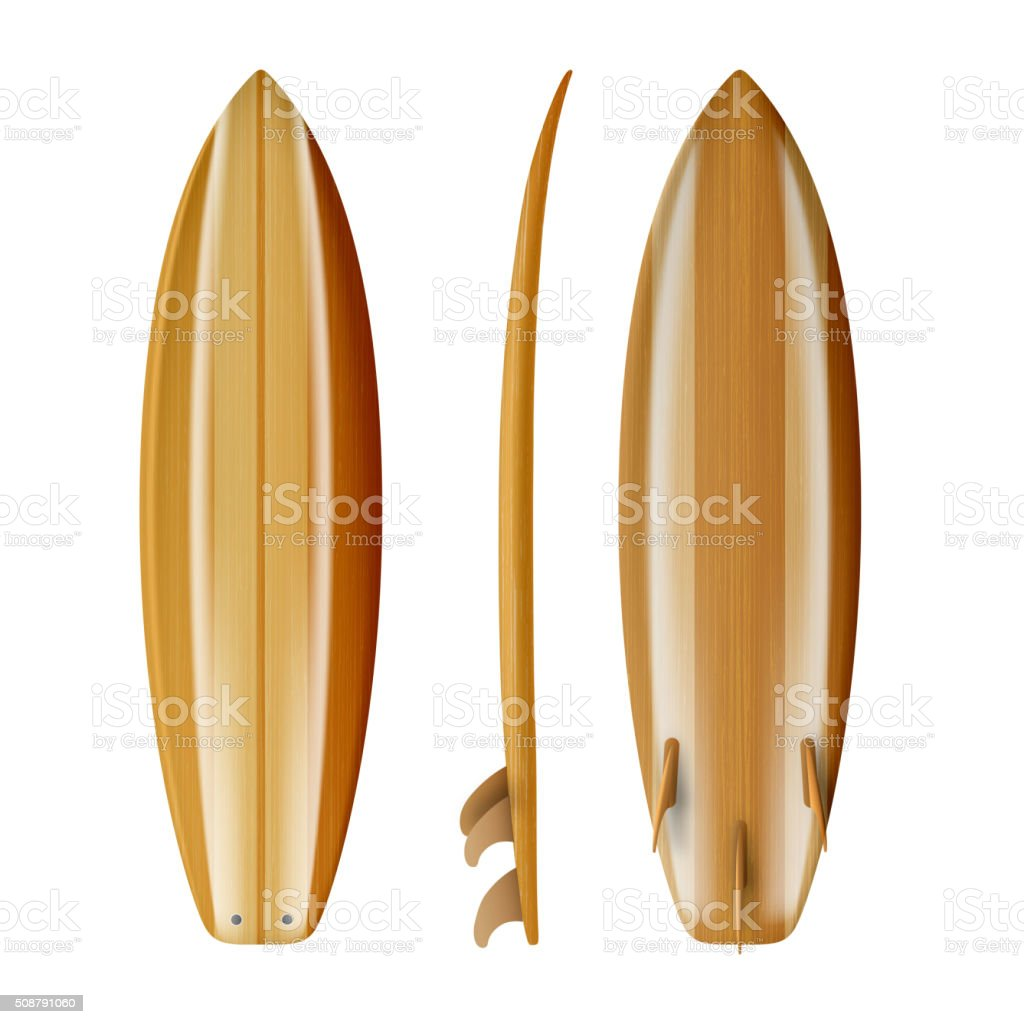 Surfboard wood isolated realistic Vector vector art illustration