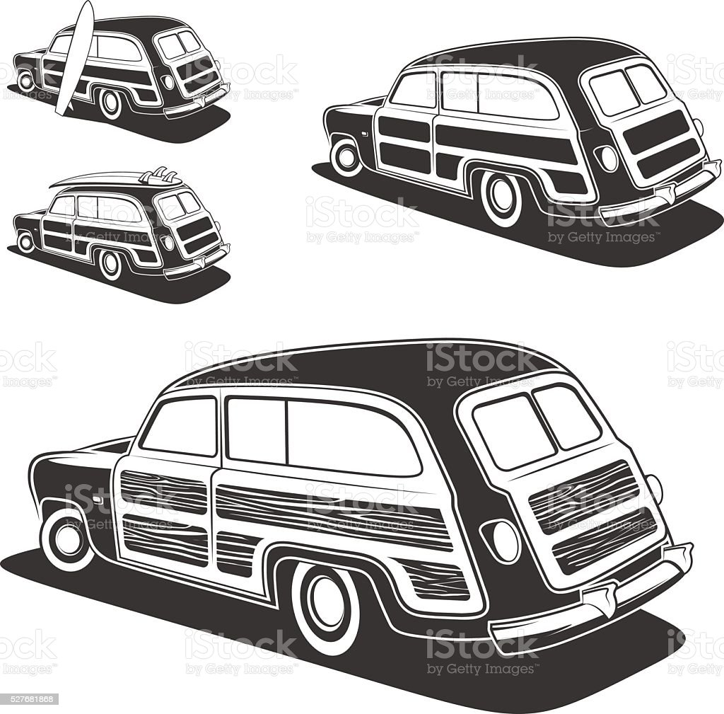 Surfboard woodie wagon car isolated. vector art illustration