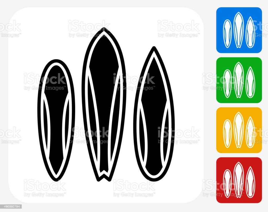 Surfboards Icon Flat Graphic Design vector art illustration
