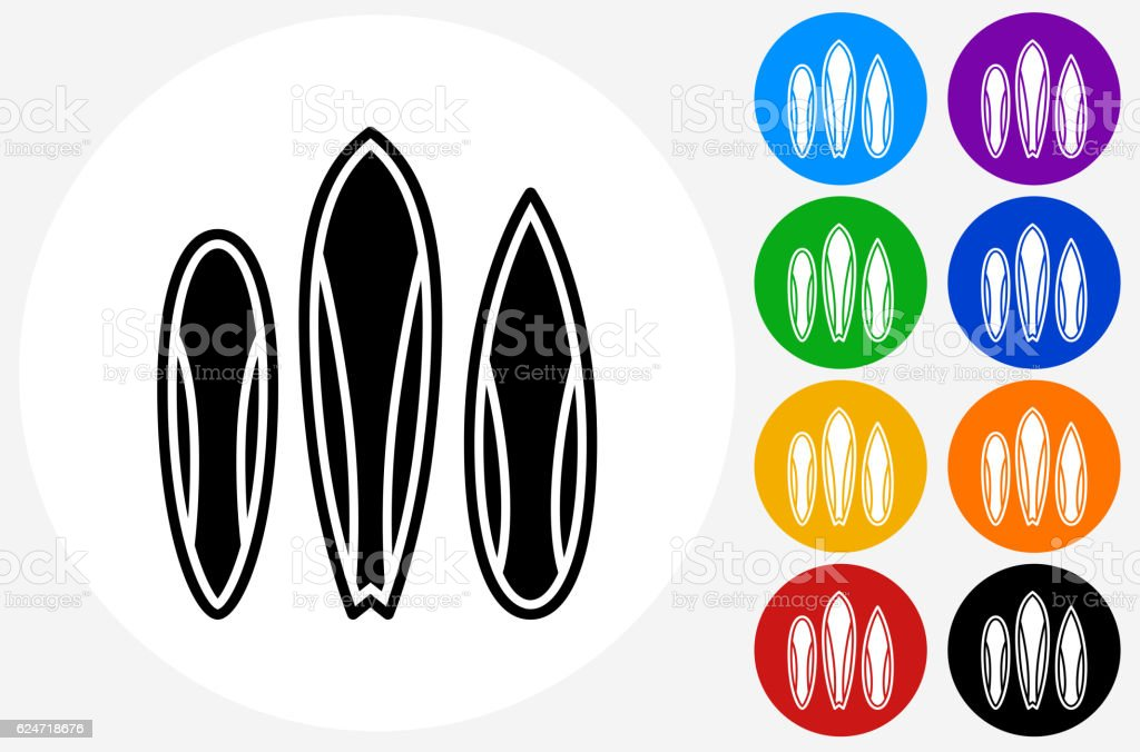 Surfboards Icon on Flat Color Circle Buttons vector art illustration