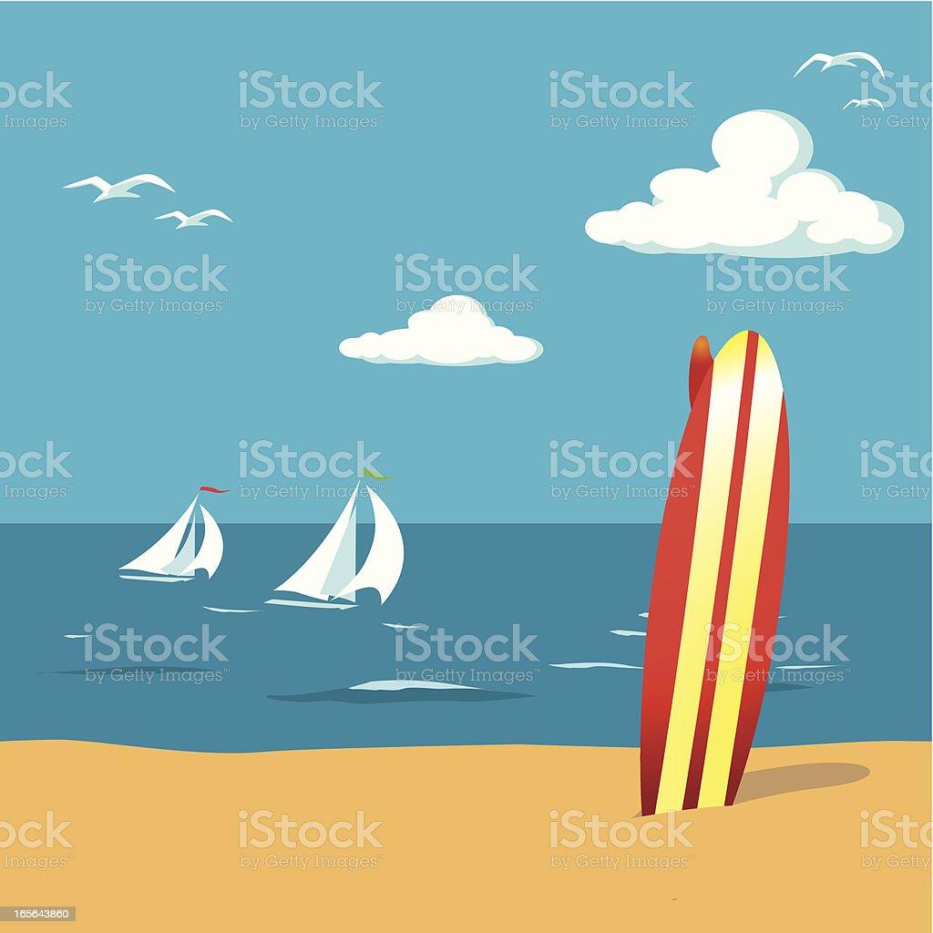 Surfbooard on the Beach vector art illustration