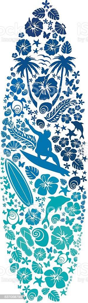 Surfborad made of surf icons vector art illustration