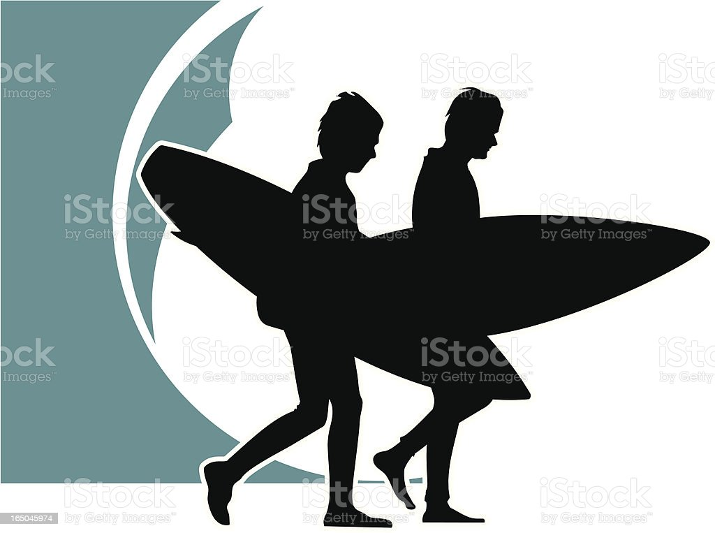 Surfboys Silhouette royalty-free stock vector art