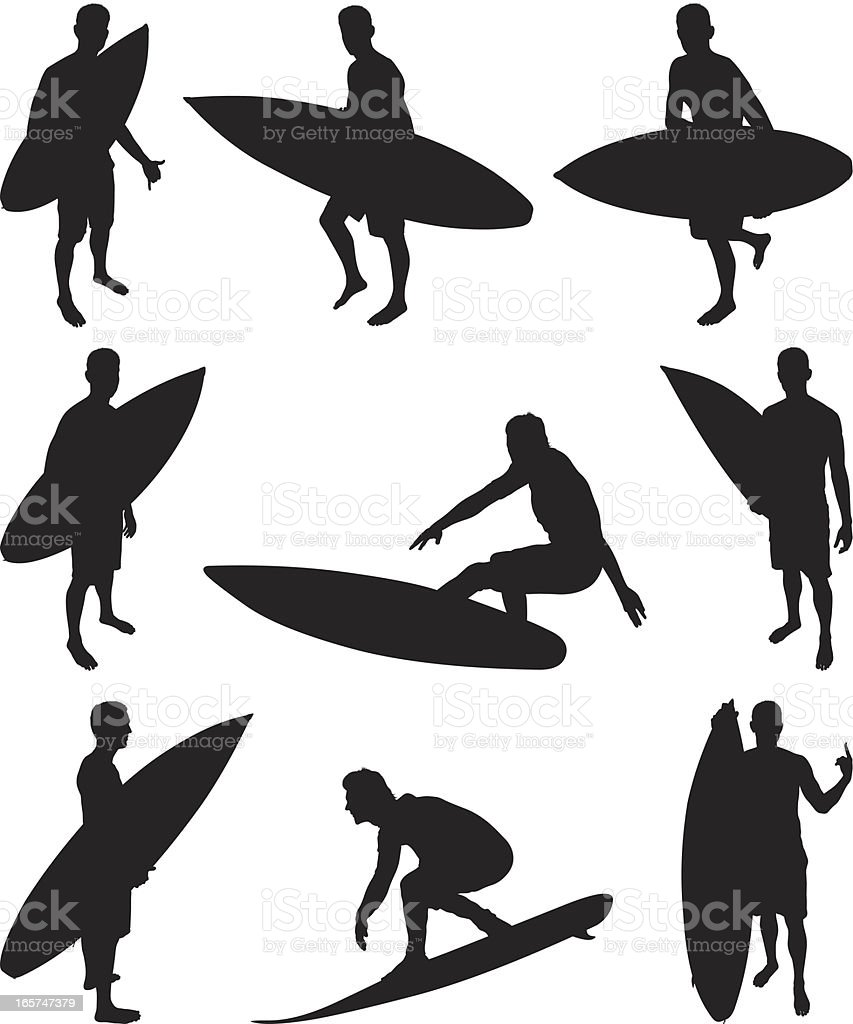Surfer dude with his surfboard royalty-free stock vector art