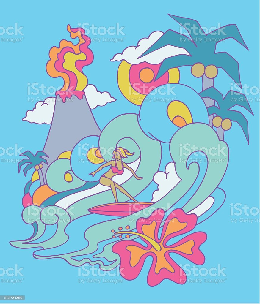 Surfer Girl vector art illustration