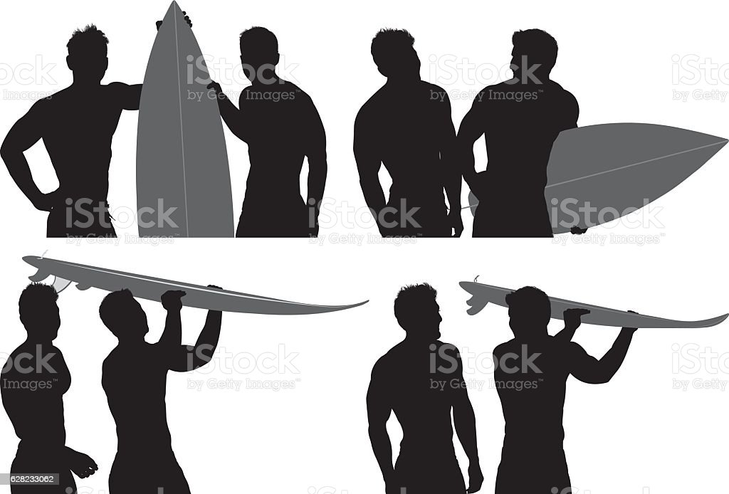 Surfer holding surfboard vector art illustration