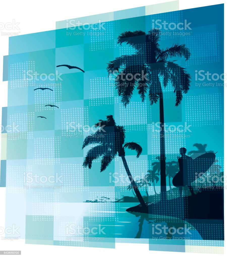 Surfer in a beach with palms vector art illustration