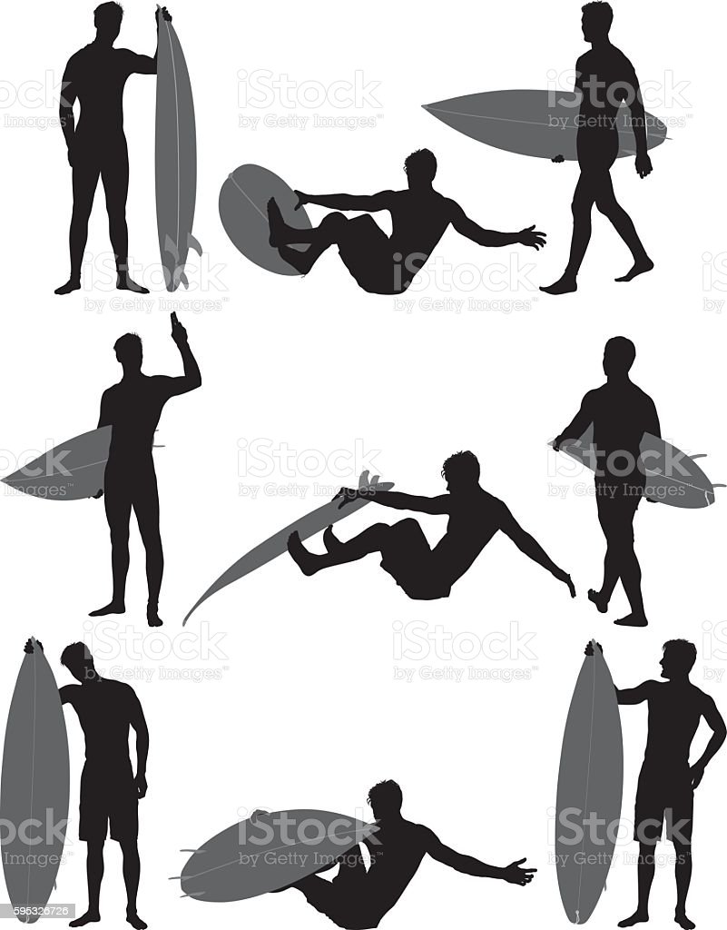 Surfer in various action vector art illustration