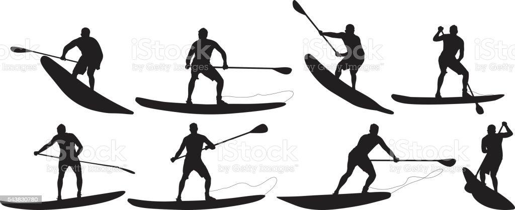 Surfer in various actions vector art illustration
