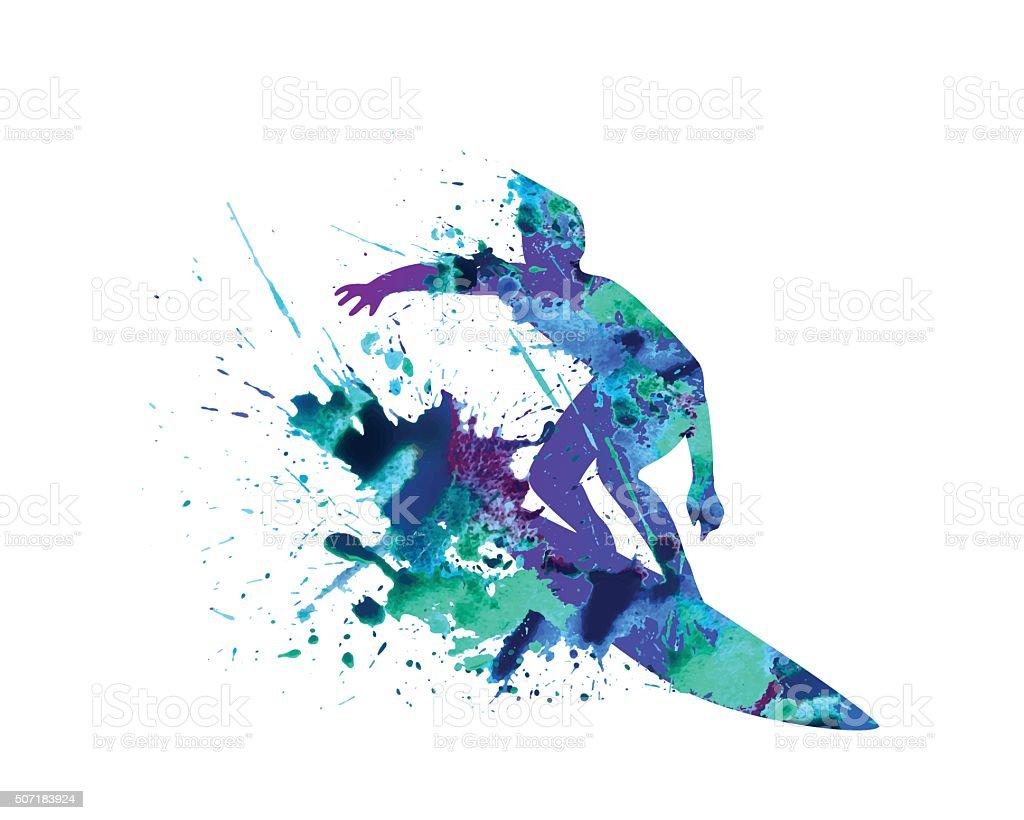Surfer. Keep on wave. vector art illustration