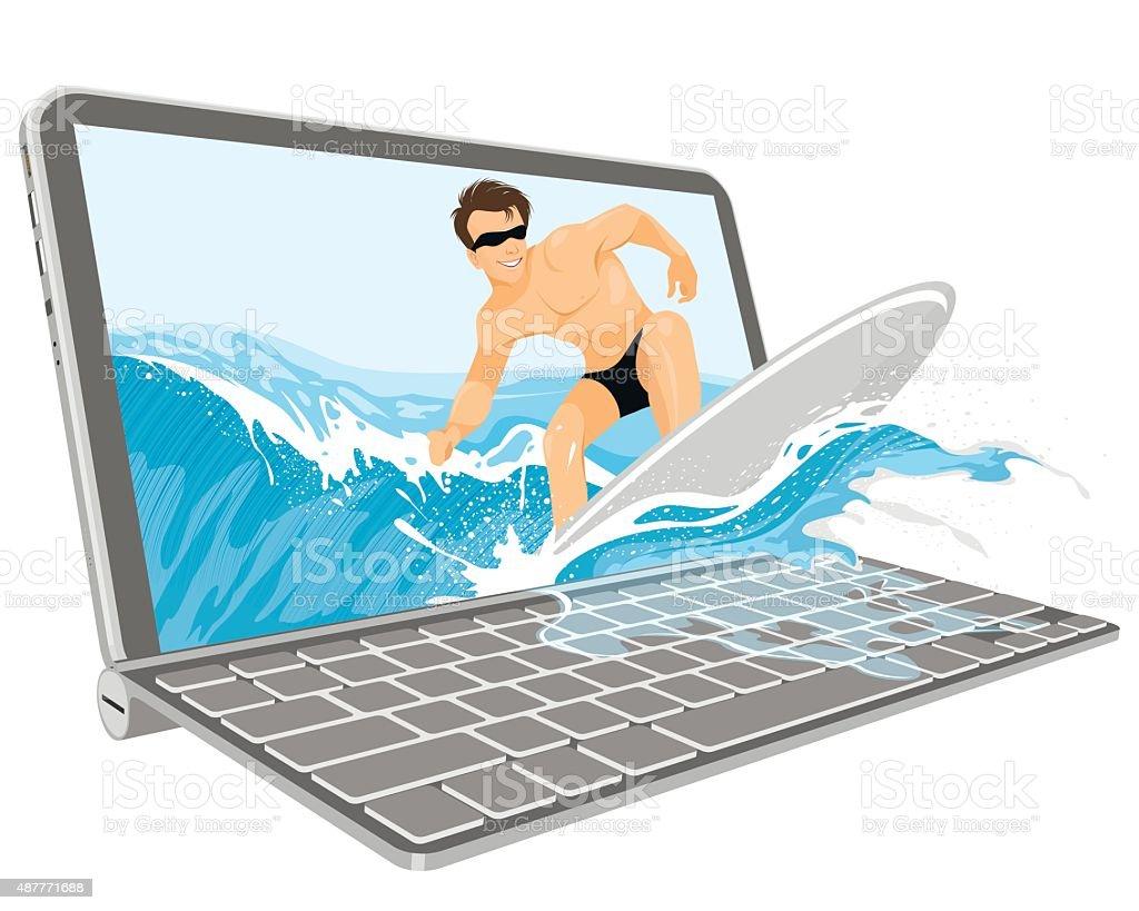 Surfer on a wave vector art illustration
