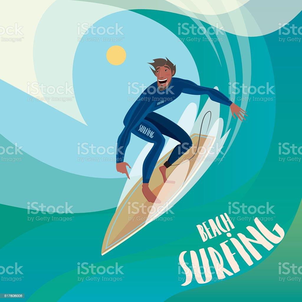 Surfer on the wave vector art illustration