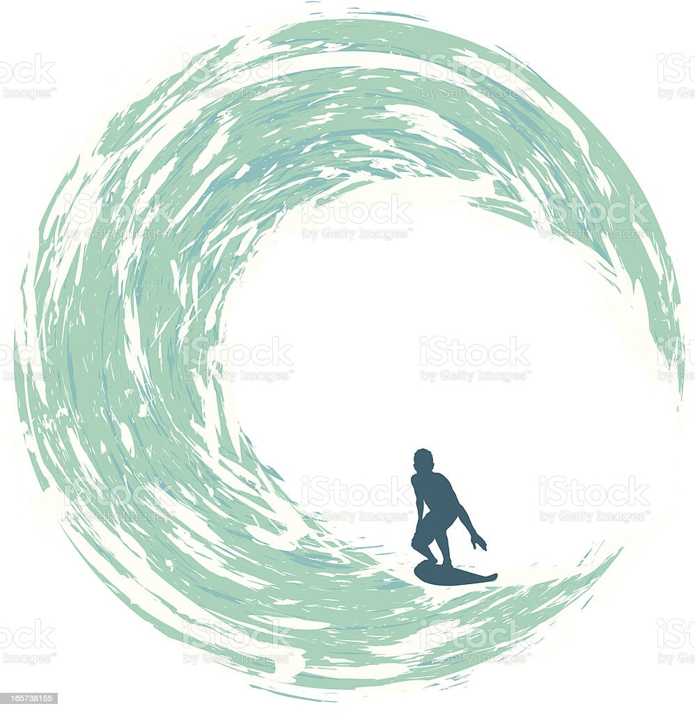 Surfer Riding on a Circular Wave royalty-free stock vector art