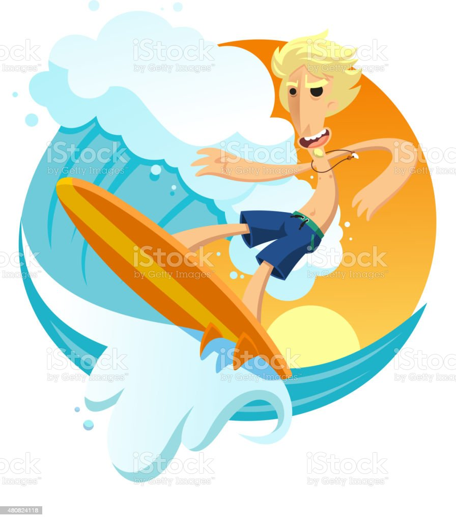Surfer riding wave with surfboard in the beach vector art illustration
