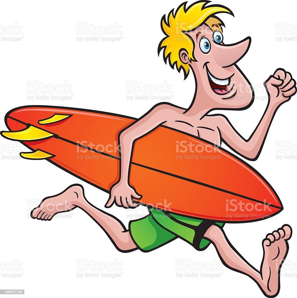 Surfer Running with a Surfboard vector art illustration