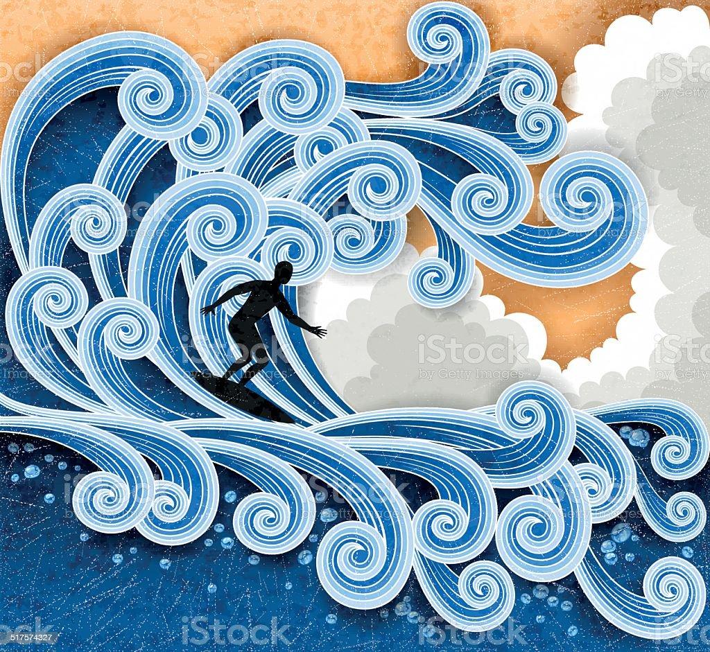 Surfer vector art illustration