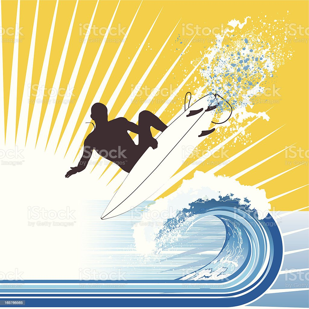 Surfer Waves and Sun - Vector Illustration royalty-free stock vector art
