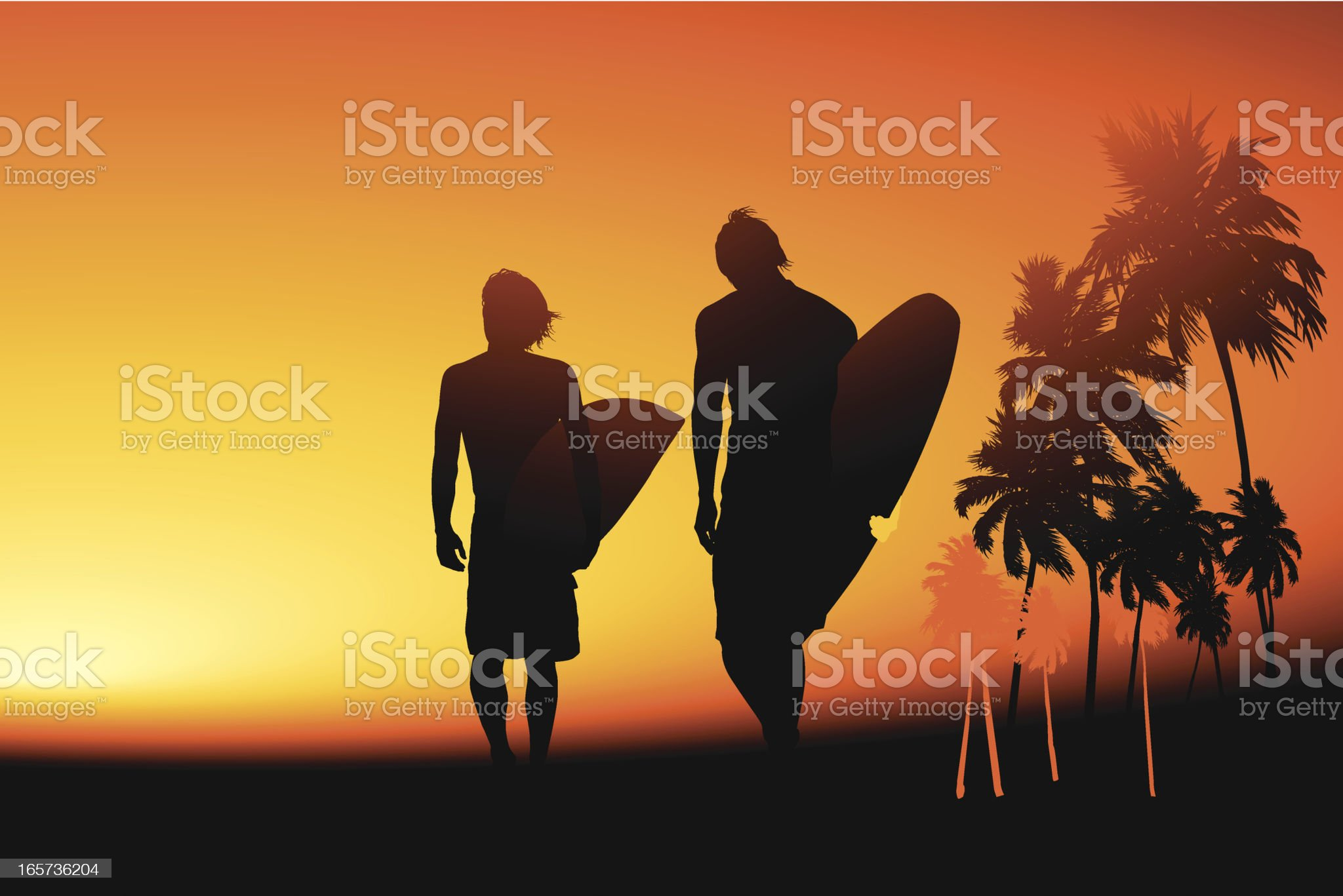 Surfers at dusk royalty-free stock vector art