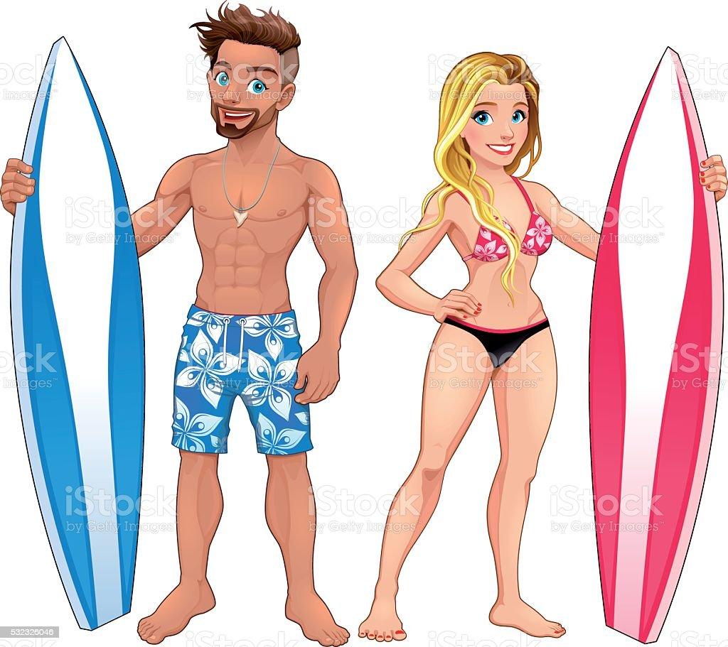 Surfers boy and girl vector art illustration