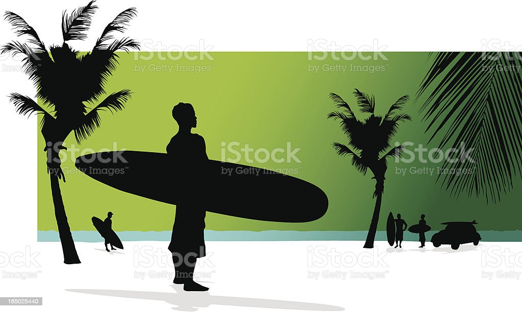 Surfers Hanging Out vector art illustration