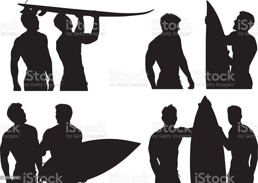 Surfers holding surfboard vector art illustration
