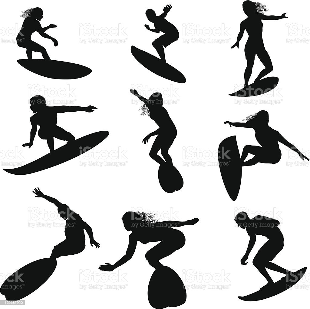 Surfers in action royalty-free stock vector art