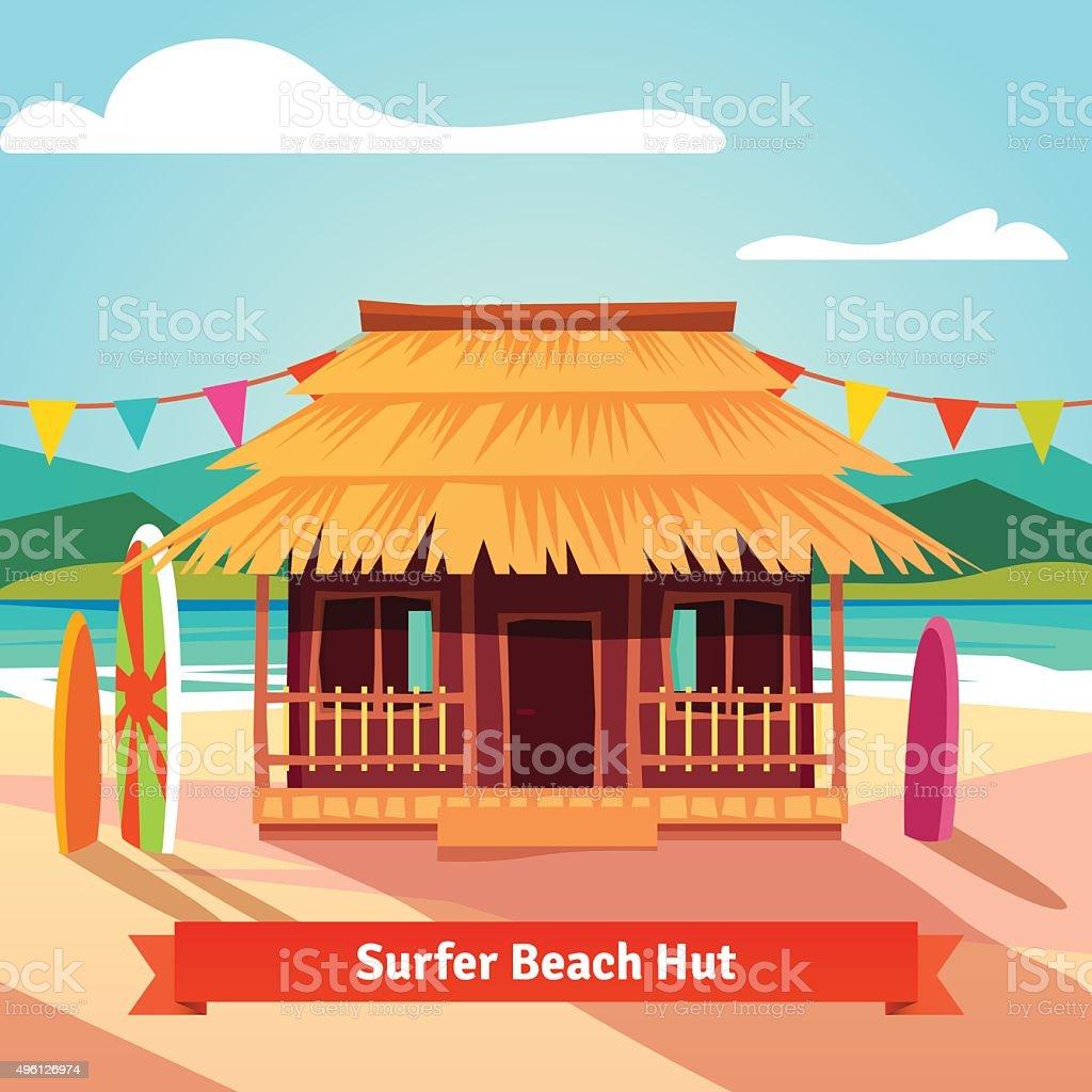 Surfers lagoon beach hut with standing surfboards vector art illustration