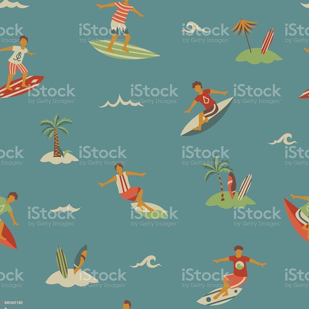 Surfers on surfboards sea seamless pattern in vintage colors vector art illustration