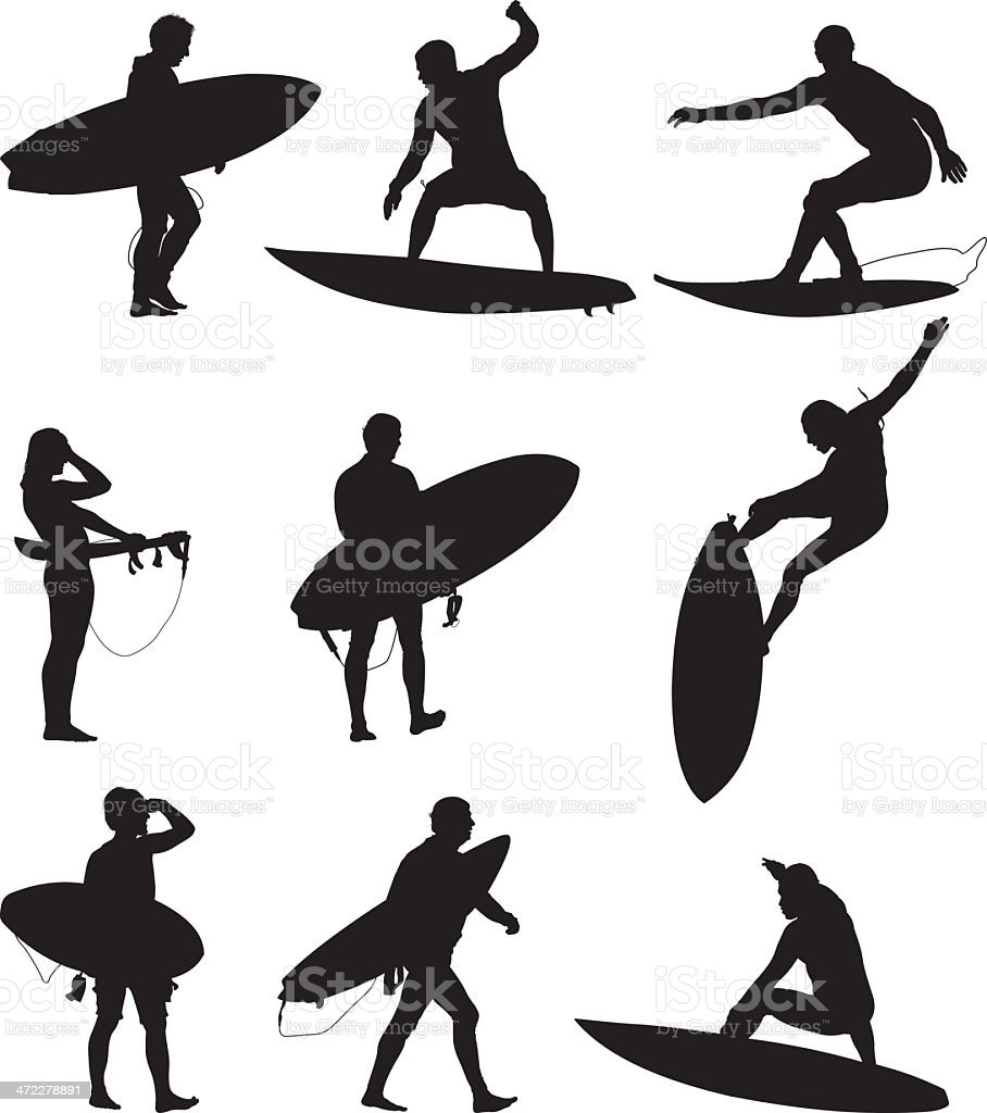 Surfers surfing and carrying their boards vector art illustration